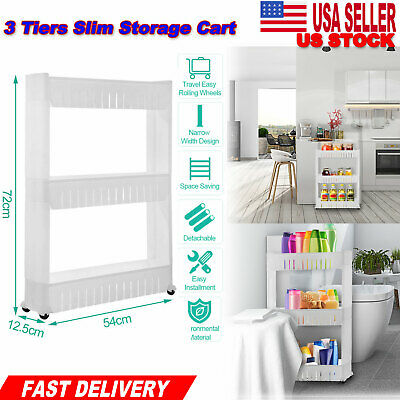 Shelves Slim Slide 3 Tier Storage Tower Rack Kitchen Organizer Laundry Room Home