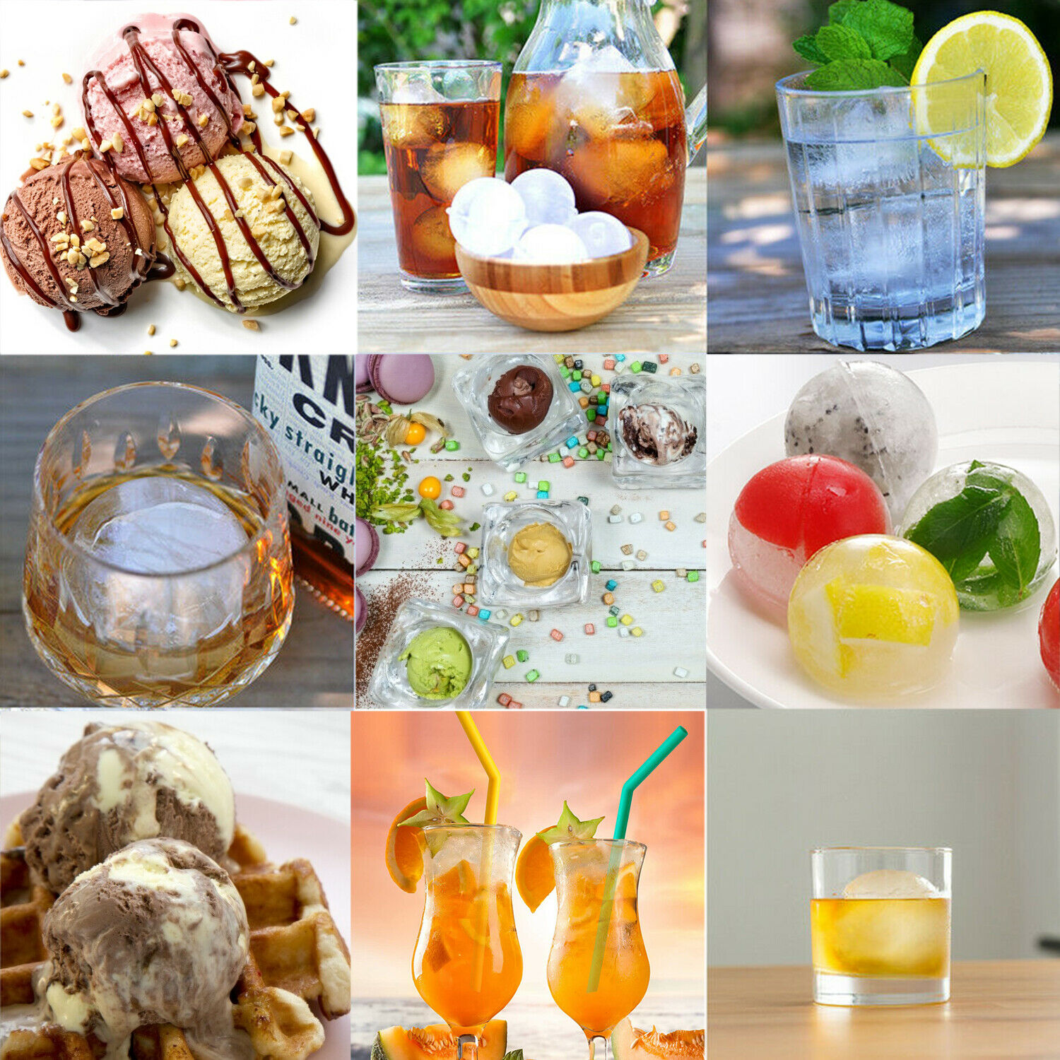 2in Round Silicone Ice Cube Ball Maker Tray Sphere Molds Bar Whiskey Cocktails Bar Tools & Accessories