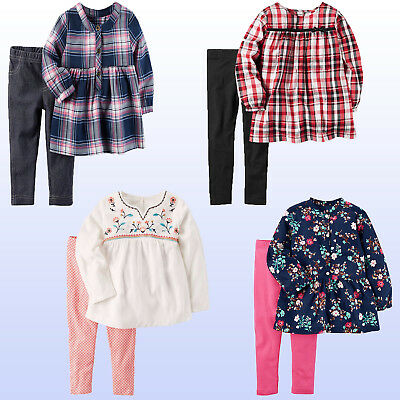 NWT Carter's Baby/Toddler Girls'  Top & Leggings - Plaid Or Floral