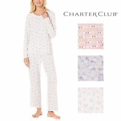 Charter Club Womens 2-Piece Thermal Fleece Long Sleeve Pajama Set 2 Piece Thermal Long Pajamas