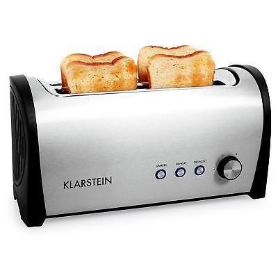 Klarstein 4 Scheiben Edelstahl 2 Langschlitz Toaster Brötchen Toast Röster 1400W