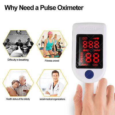 Finger Pulse Led Oximeter Blood Oxygen Saturation Spo2 Heart Rate Monitor Meter