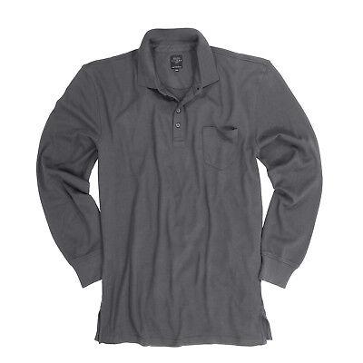 Große Größen langarm Poloshirt in anthrazit für Männer von Kitaro in 4XL 5XL 7XL (Polo-shirts Für Große Männer)