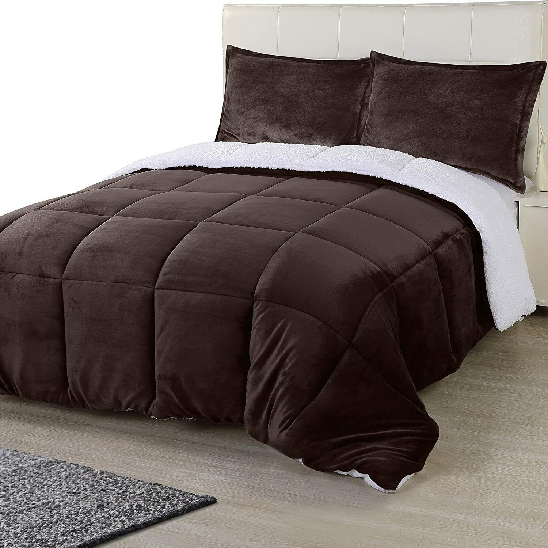 All Season Reversible Fleece Sherpa Comforter Set Utopia Bedding 2