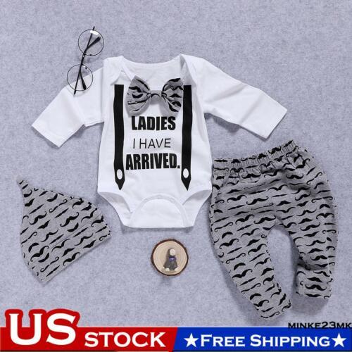 3PCs Newborn Infant Baby Gentleman Outfits Clothes Romper Tops+Pants+Hat Set