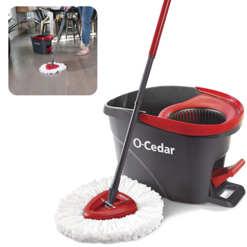 Spin Mop and Bucket Set Commercial/Home Hard Floor Cleaning Tool W/ Wringer