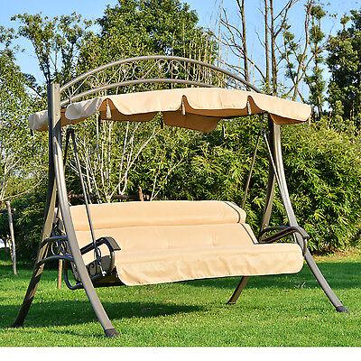 Hollywoodschaukel Gartenschaukel mit Sonnendach Gartenbank Schaukel 3-Sitzer