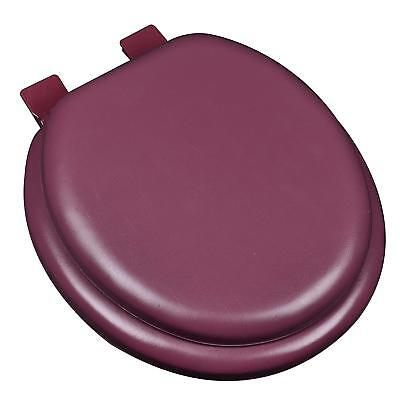 - Burgundy Soft Padded Cushion Toilet Seat Round Standard Size New Solid Color