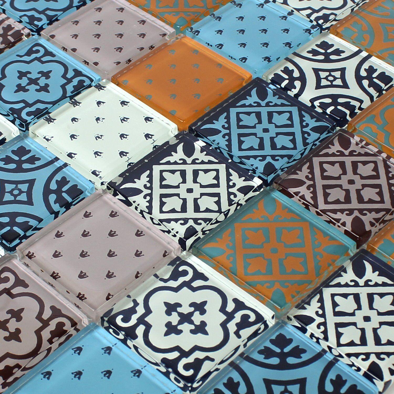 muster glas mosaik fliesen zementoptik bunt mix eur 1 90. Black Bedroom Furniture Sets. Home Design Ideas