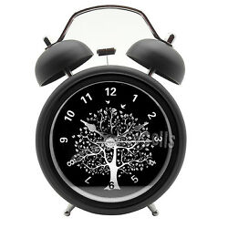 3 inch 3 Metal Double Bell Desk Table Loud Alarm Clock Nightlight Vintage Tree