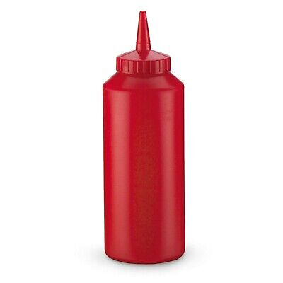 Lot Of 6 Traex 2812-12 Squeeze Bottle Dispenser Flowcut 12oz Red Plastic Ketchup