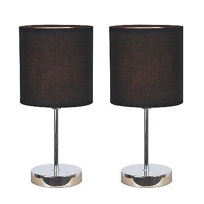 Table Lamps Set Of 2 With Black Shades Desktop Bedroom Fast Shipping New
