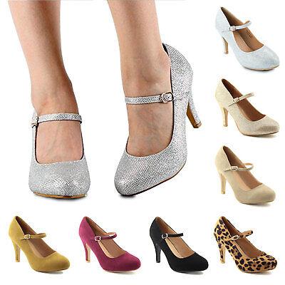 Women's Buckle Closure High Stiletto Heel Mary Jane Almond Toe Glitter - Glitter Mary Jane