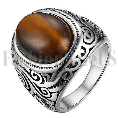 Men's Retro Stainless Steel Oval Tiger Eye Stone Patterned Ring Band Size -