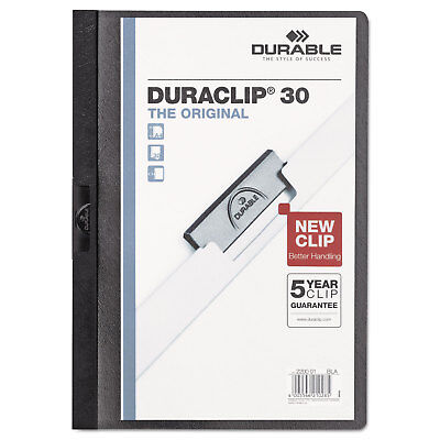 Durable Vinyl DuraClip Report Cover w/Clip Letter Holds 30 Pages Clear/Black