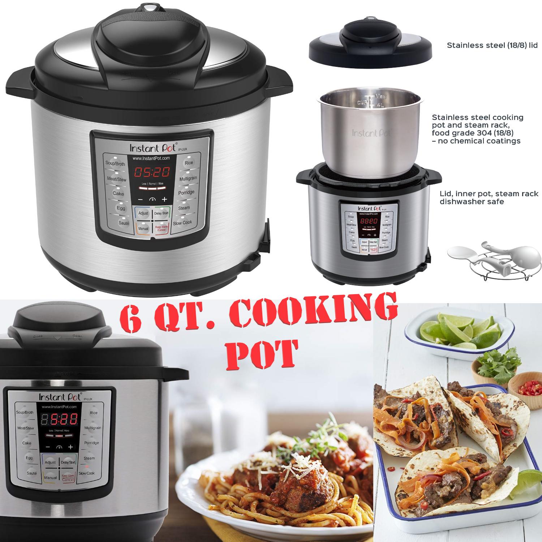 Instant Pot Pressure Cooker 12 in 1 Programmable 6 Quart Ele