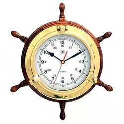 Lacquered Brass Porthole Quartz Clock with Ship's Wheel on Oak Wood.