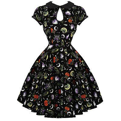 loween Horror Katze Mond Kürbis Geist Vintage 1950er Kleid (Schwarze Katze Halloween Mond)
