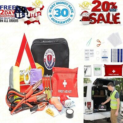 Roadside Assistance Emergency Car Kit - First Aid Kit, Jumper Cables, Tow Strap,