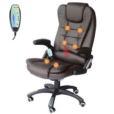 Heated Vibrating Office Massage Chair Executive Ergonomic Computer Desk - Brown
