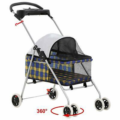 New BestPet Yellow Plaid Posh Pet Stroller Dogs Cats w/Cup Holder Dog Supplies