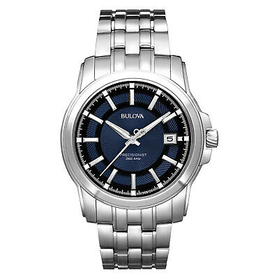 Bulova Men's 96B159 Quartz Precisionist Blue Dial Silver-Tone Band 42mm Watch