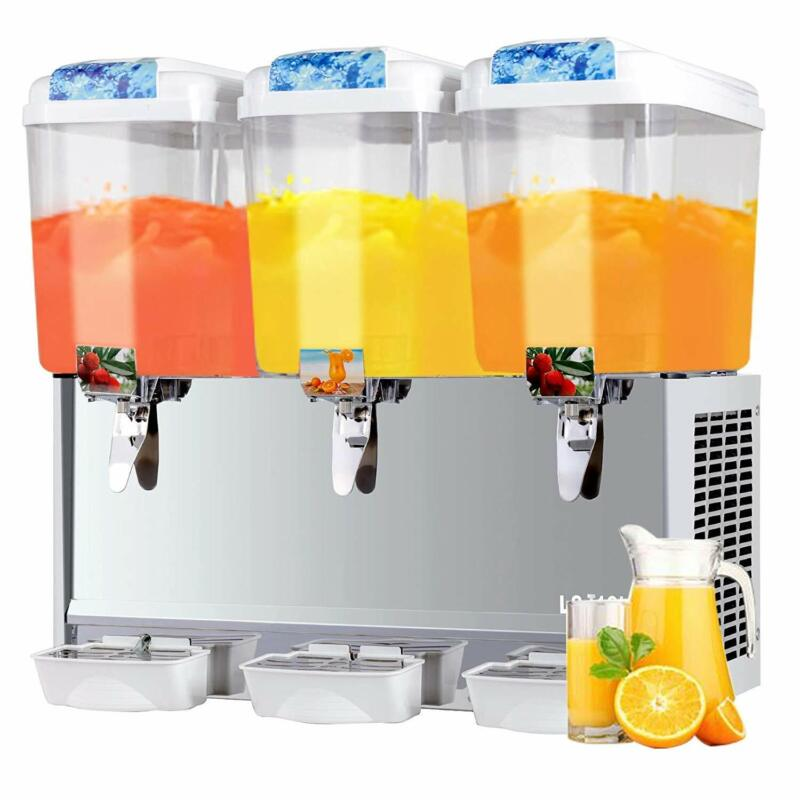 Commercial 3 Tanks 54L Frozen Juice Beverage Refrigerated Dispenser Cold Drink