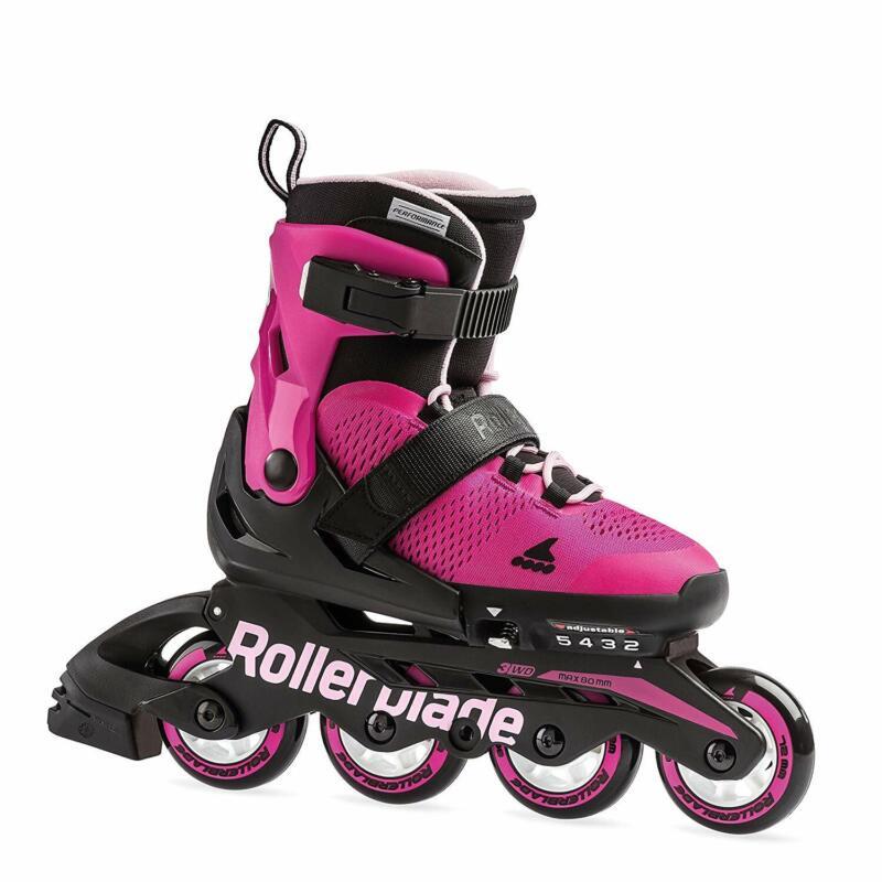 Rollerblade USA Microblade Girls Adjustable Fitness Inline Skate, Medium, Pink