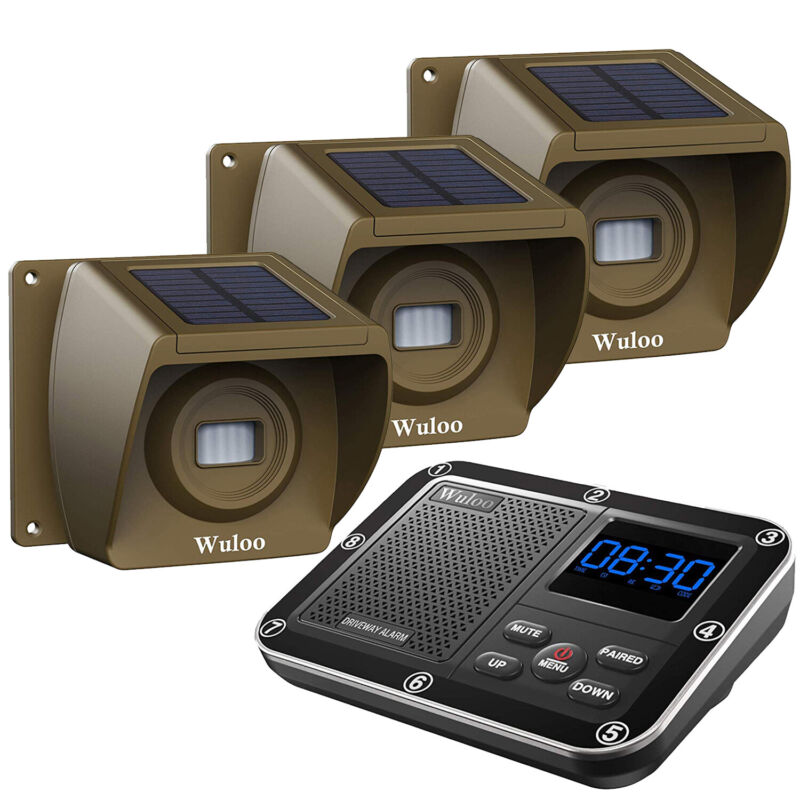 Wuloo Solar Driveway Alarms Wireless 1/3 Mile Long Range Outdoor Motion Sensors