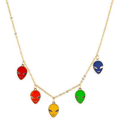 Lux Accessories Gold Tone Multicolor Enamel Alien Multi Charm Pendant Necklace