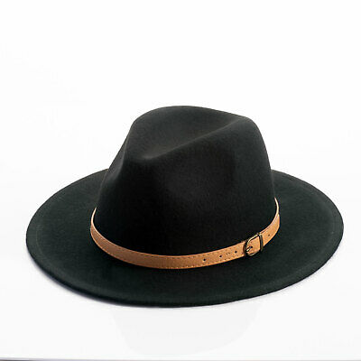 Fedora Wide brim Wool Hat with Faux leather belt -3 color  (90) Brim Fedora Hat