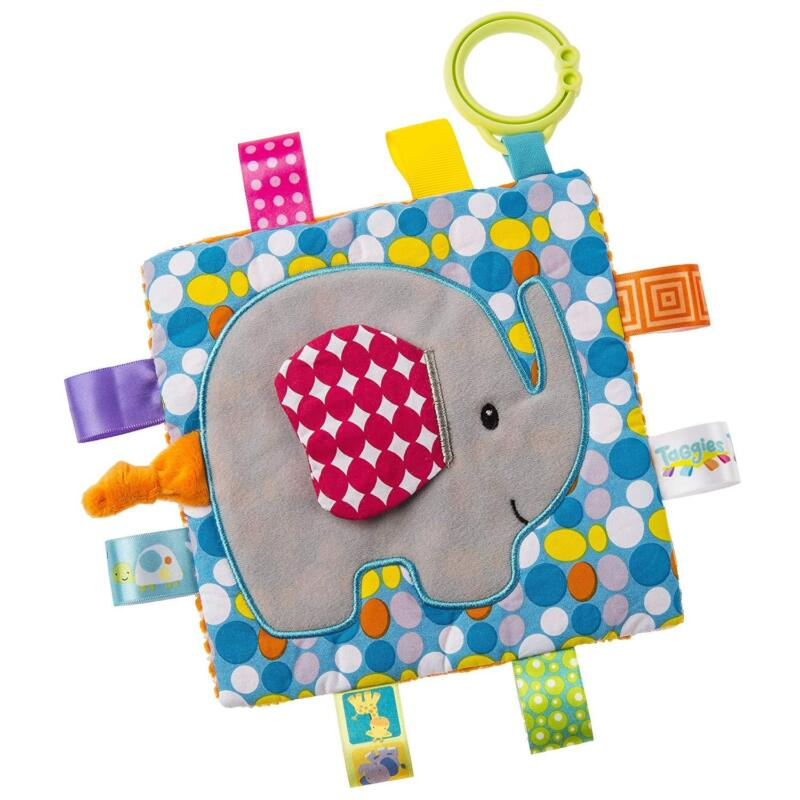 """Mary Meyer Taggies Paper & Squeaker Crinkle Me 6""""x6"""" Baby Toy - Elephant"""