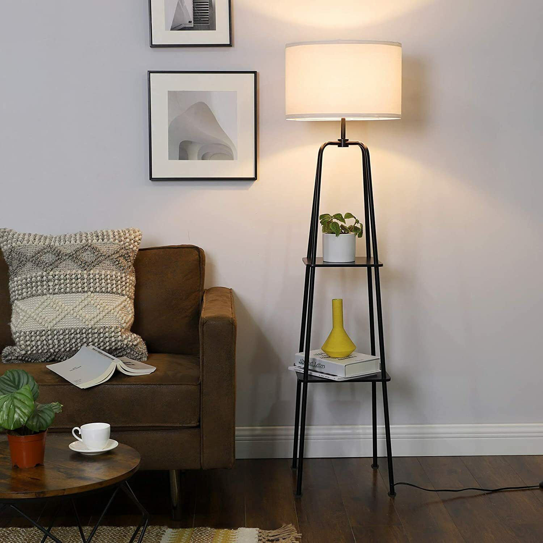 DEWENWILS 60 inch Modern Black Floor Lamp with Shelves Stand