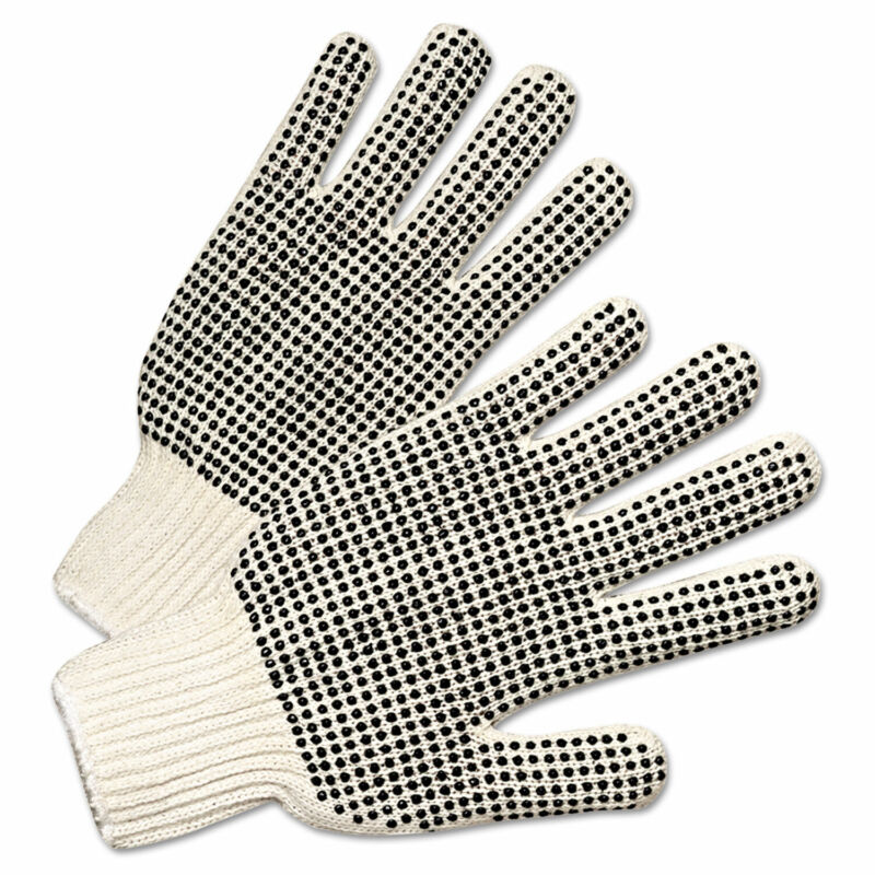 Anchor Brand PVC-Dotted String Knit Gloves Natural White/Black 12 Pairs 6705