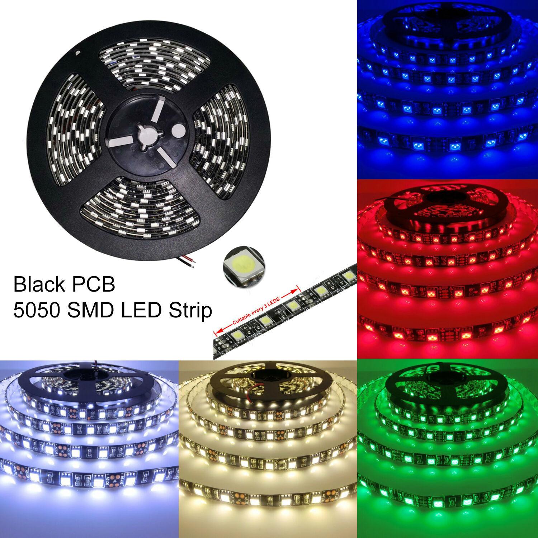 Black PCB 16 4ft 5M 5050 SMD 300 Waterproof LED Flexible Strip