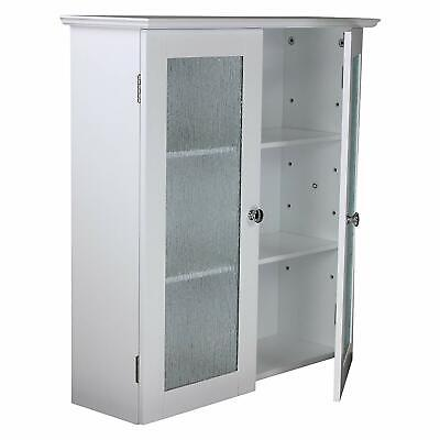 White 2 Glass Door Wall Cabinet Modern Kitchen Storage Cup Board Organizer Shelf ()