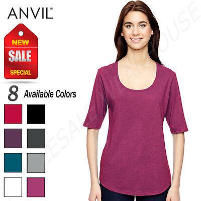 Anvil Women's Triblend Deep Scoop Neck 1/2 Sleeve T-Shirt M-6756L
