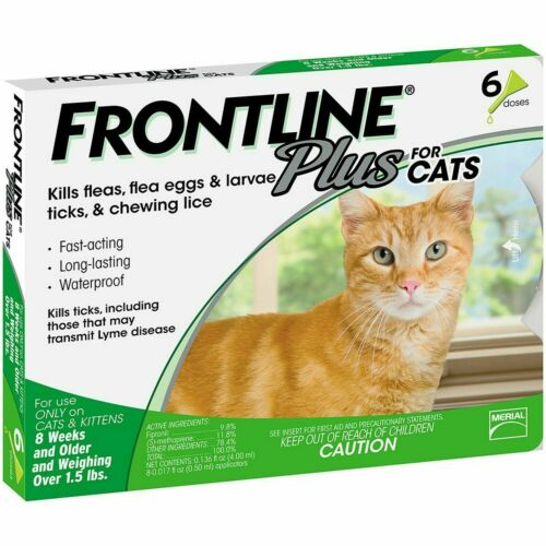 6 Doses Frontline Plus Cat Flea and Tick Remedy For Cats,for 6 Month Supply