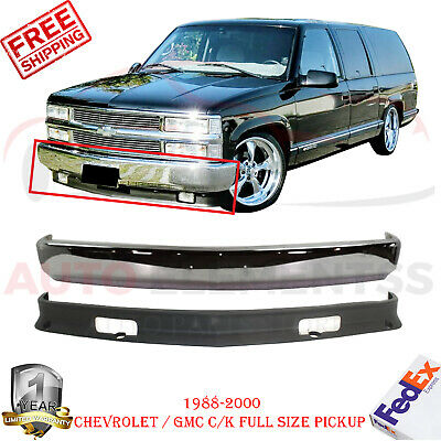Front Bumper Chrome + Valance For 1988-2000 Chevrolet / GMC C/K Full Size Pickup