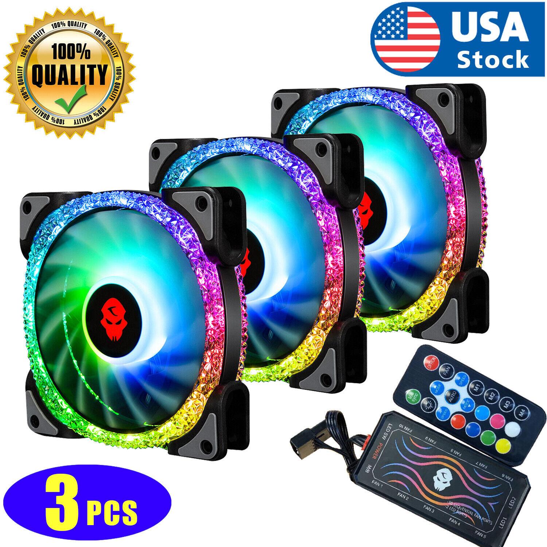 3Pcs LED Cooling Fan RGB 120mm 12V For Computer Case PC CPU w/ Remote Control US Computer Case Fans