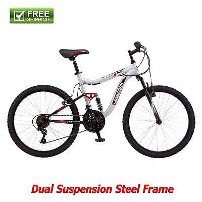 "Mongoose Mountain Bike 24"" Silver Boy Dual Suspension Frame Bicycle Shimano New!"