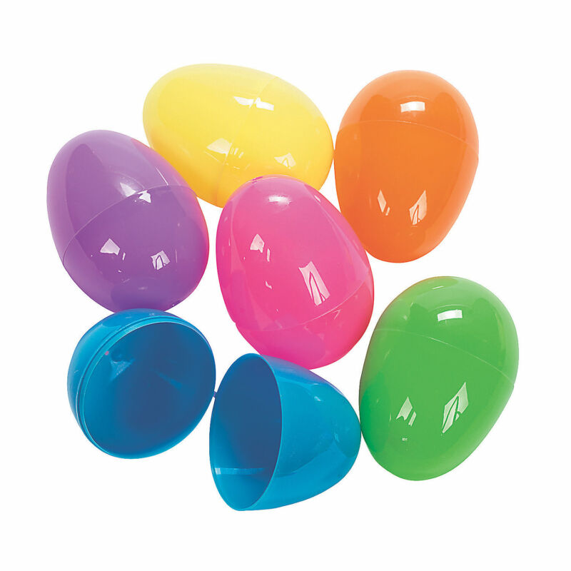 Jumbo Bright Plastic Easter Eggs - Party Supplies - Egg Hunt - 12 Pieces