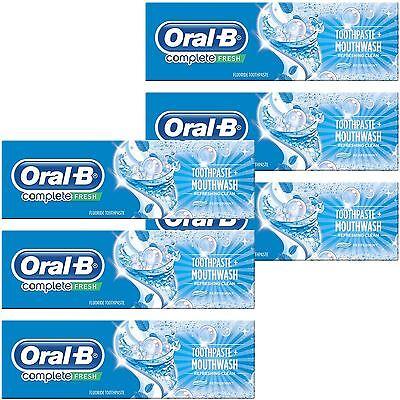 6x Oral-B Komplett pro Zahnpasta & Mundwasser 2 in 1 Erfrischend Pfefferminze