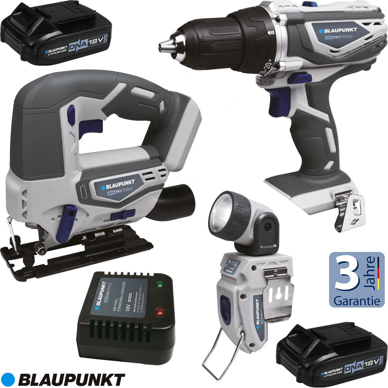 Blaupunkt 18 Volt DNA Akku System Werkzeug Akkuschrauber Stichsäge Taschenlampe