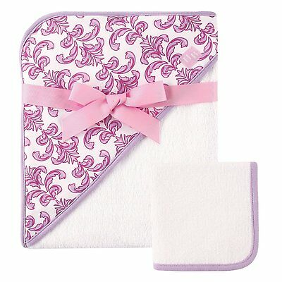 """HUDSON BABY GIRLS WOVEN HOODED TOWEL AND WASHCLOTH 30"""" X 36"""" GIFT SET FLORAL"""