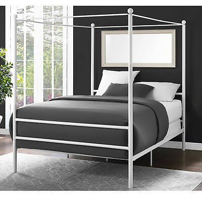 White Metal Canopy Bed - Canopy Bed Frame Full Size Metal Princess Girls Kids Bedroom Furniture White New