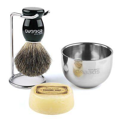 Anbbas Shaving Kits Men Fine Badger Bristle Shave Brush+Stand+Bowl Cup+Soap 4in1 Men Shave Kit