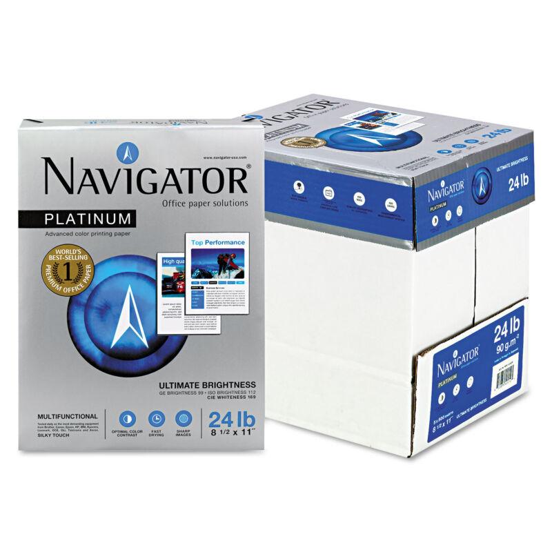 Navigator Platinum Paper 99 Brightness 24lb 8-1/2 x 11 White 2500/Carton
