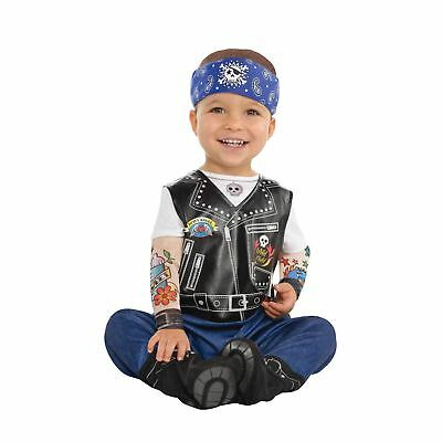 Baby Biker Toddler Costume Tattoo Punk Jumpsuit Fancy Dress
