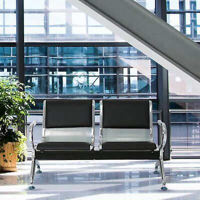 2-seat Waiting Room Chair Leather Business Reception Bench Room Barber Bench
